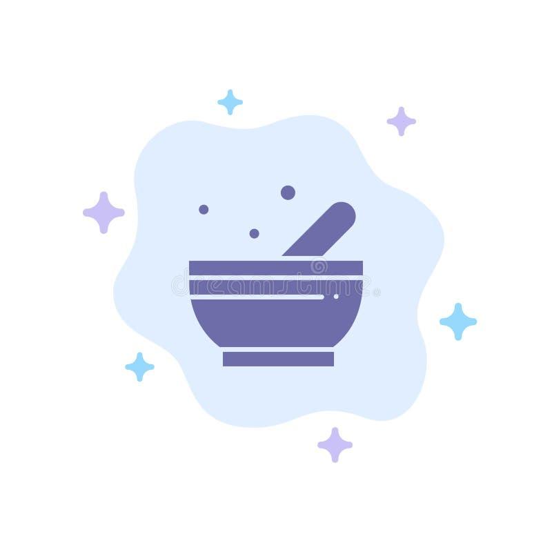 Bunke soppa, blå symbol för vetenskap på abstrakt molnbakgrund vektor illustrationer