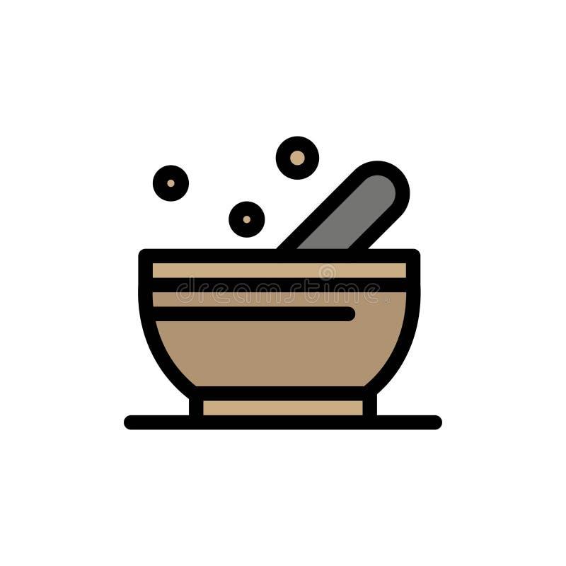 Bunke soppa, plan färgsymbol för vetenskap Mall för vektorsymbolsbaner royaltyfri illustrationer