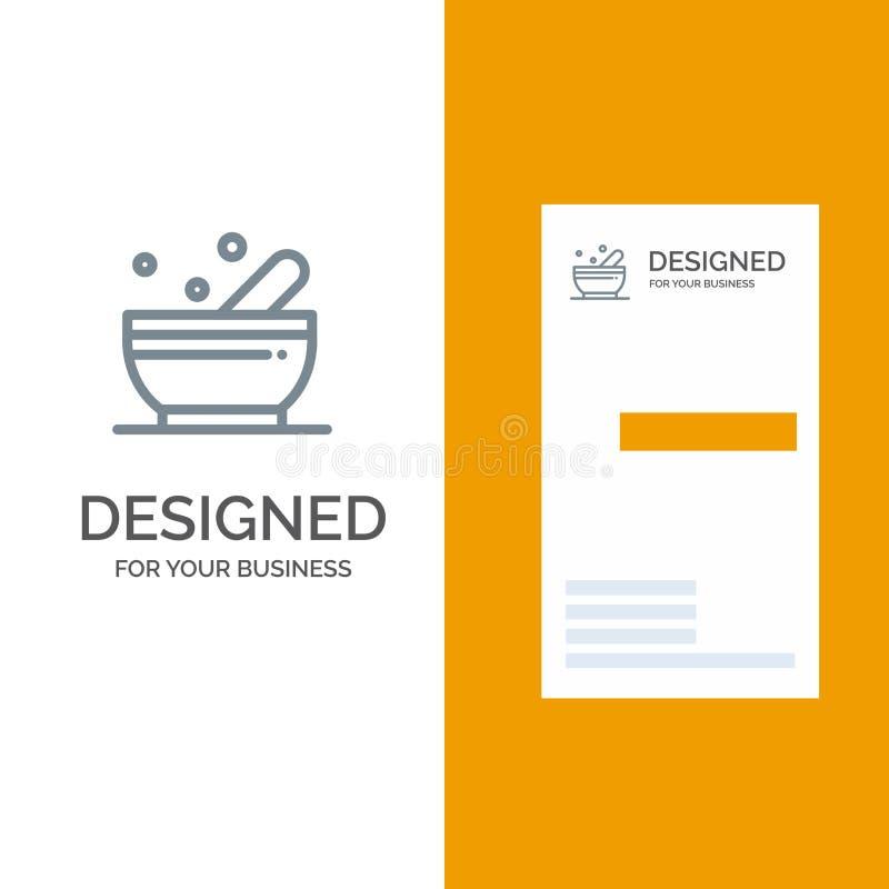 Bunke, soppa, vetenskap Grey Logo Design och mall för affärskort royaltyfri illustrationer