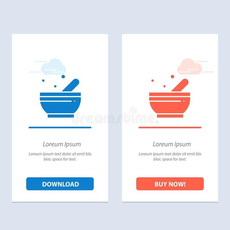Bunke, soppa, vetenskapsblått och röd nedladdning och att köpa nu mallen för rengöringsdukmanickkort stock illustrationer