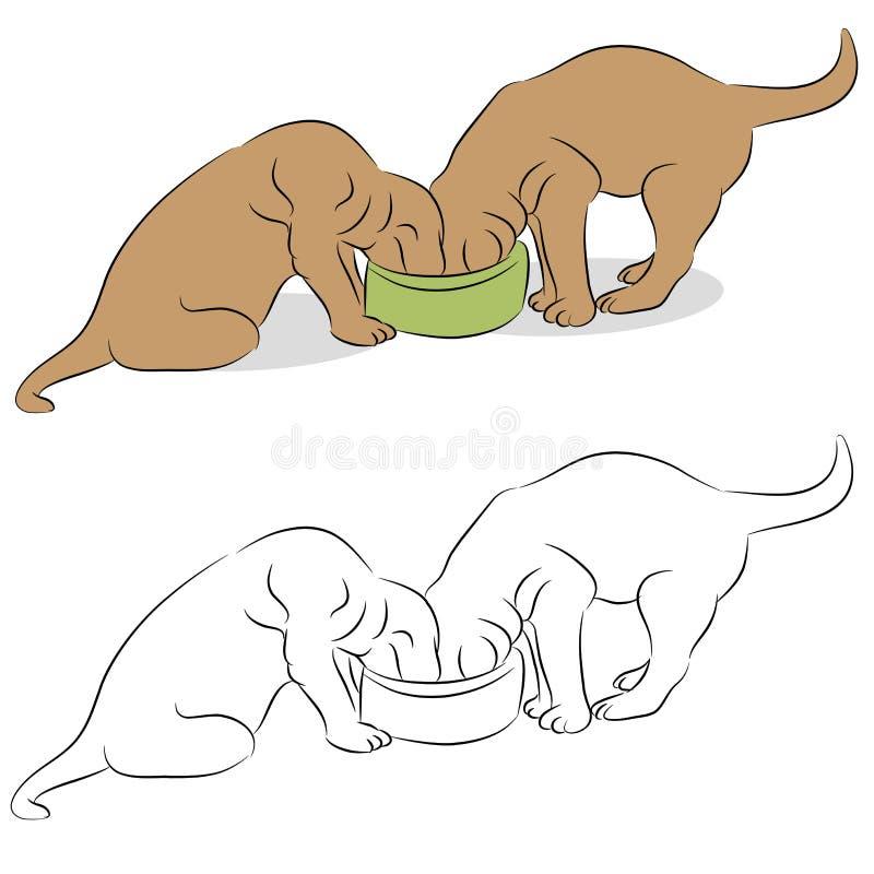 bunkehund som äter labrador valpar två royaltyfri illustrationer