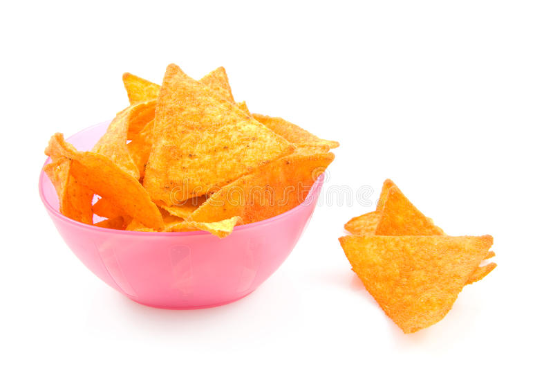 bunken chips den rosa tortillaen royaltyfria bilder