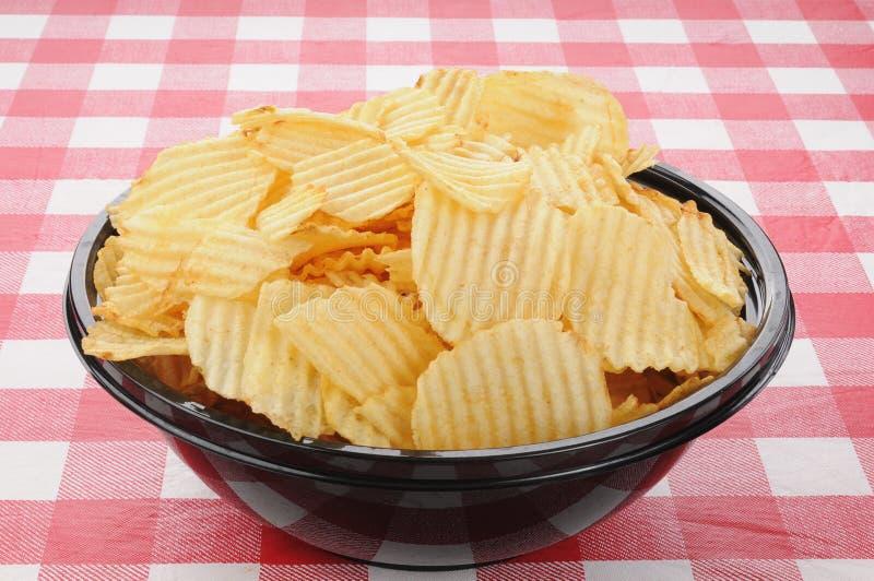bunken chips den stora potatisen fotografering för bildbyråer