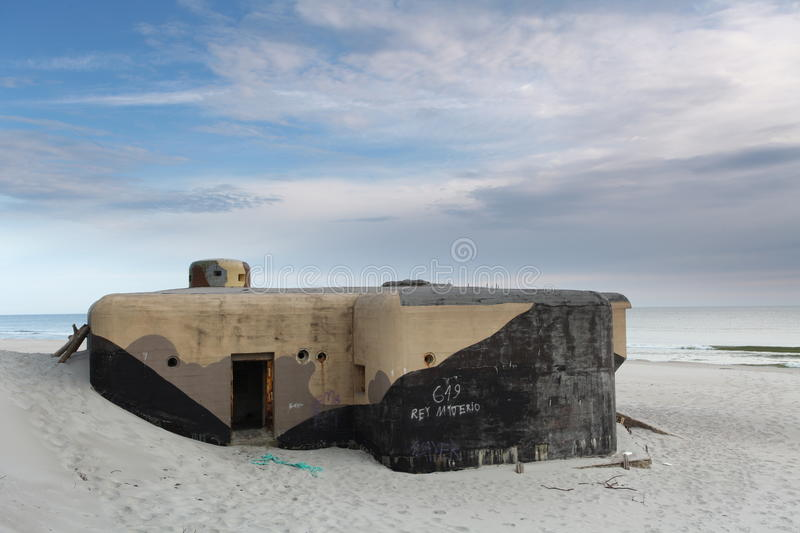 Bunker on beach. Polish army fortification by german coast from world war 2 stock image