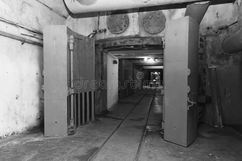 Bunker from Cold War, object an underground submarine base royalty free stock photography