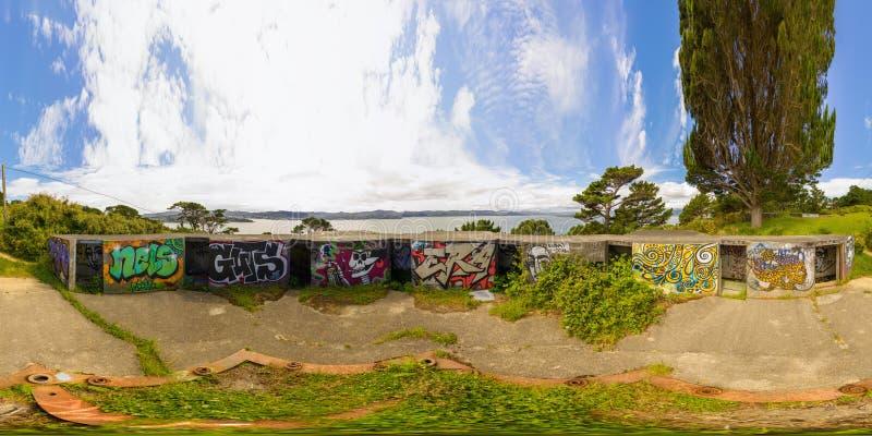 Bunker della seconda guerra mondiale di Miramar, Nuova Zelanda VR 360 gradi di panorama fotografie stock libere da diritti