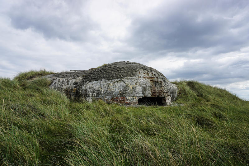 Bunker. Hidden in the sand dunes (Thy National Park, Denmark) royalty free stock image