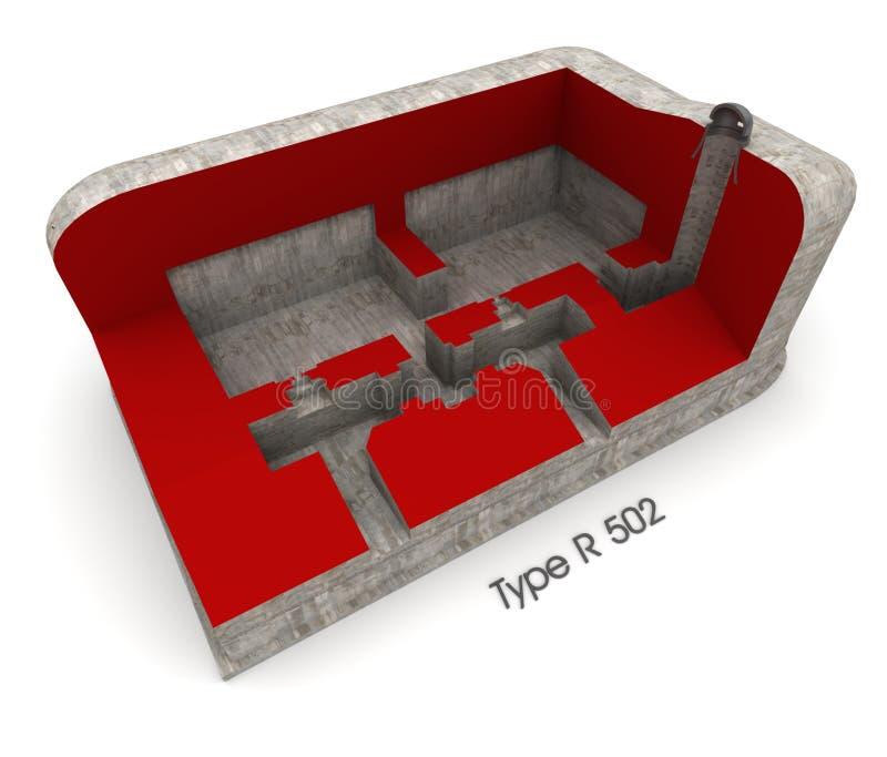 Bunkerinnenraum stock abbildung