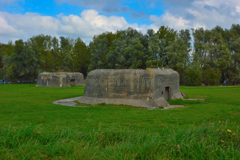 Bunkers of the first and second World war in Ostend Belgium. Abandoned and old Bunkers of the first and second World war in Ostend Belgium royalty free stock photo