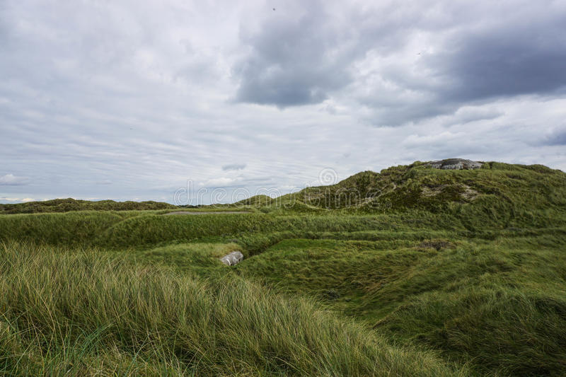 Bunkers. Hidden in the sand dunes (Thye National Park, Denmark) royalty free stock photography