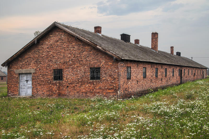 Bunkhouse at Birkenau camp. Bunkhouse at Auschwitz-Birkenau concentration camp in Oswiecim, Poland stock image