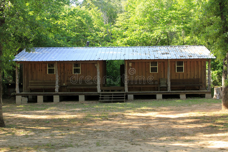 BUNKHOUSE IN THE WOODS stock photography