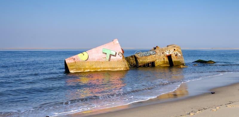 Bunkier na plaży w Landes kraju Francja zdjęcia royalty free