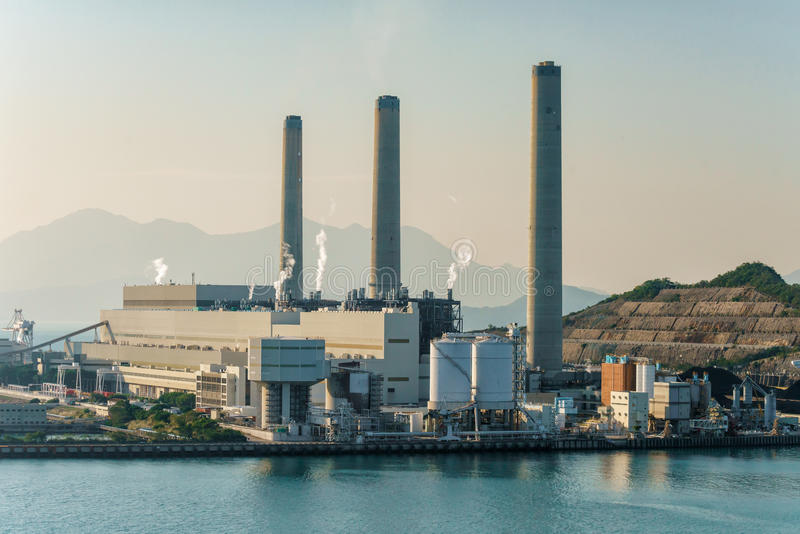 Bunkruje Lamma wyspy elektrownię w Po Lo Tsui i podpalał, Hong Kong fotografia royalty free