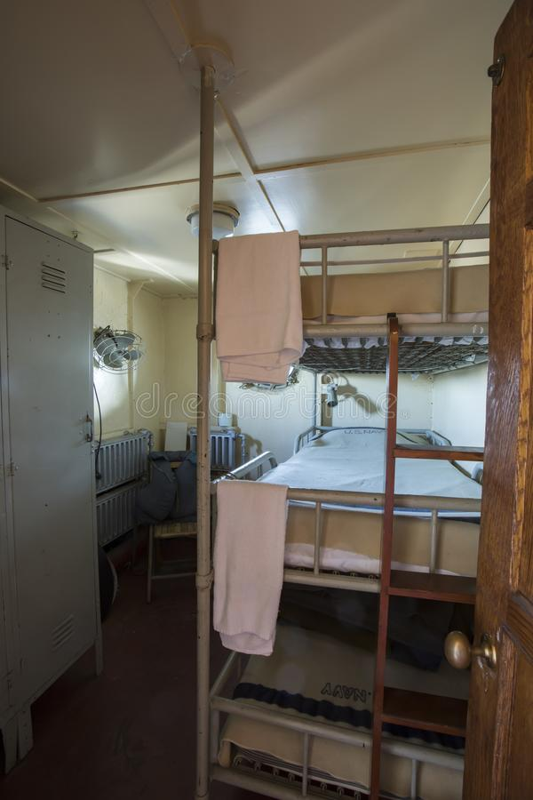 Crew quarters on WWII Liberty Ship stock photography
