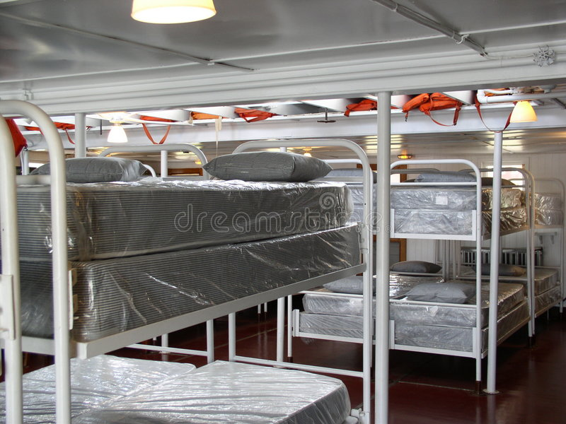 Bunks for steamship Crew stock photo