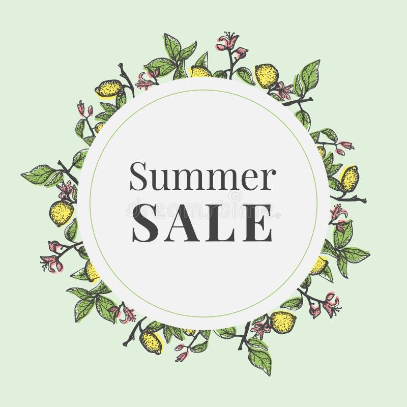 Bunner για τη θερινή πώληση με τα λεμόνια διανυσματική απεικόνιση