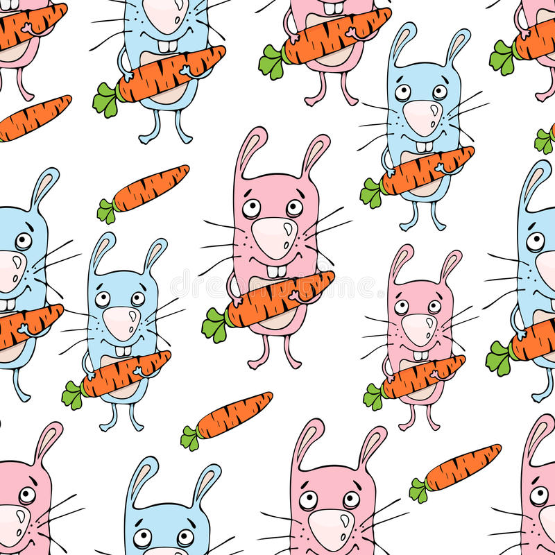Bunnies cartoon seamless pattern, hand drawing, vector background. Funny painted rabbit with a carrot in the paws on a white backd. Rop. For fabric design stock illustration