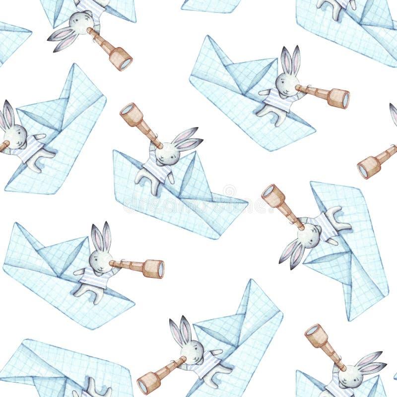 Bunnies sailors. Watercolor seamless pattern. stock illustration