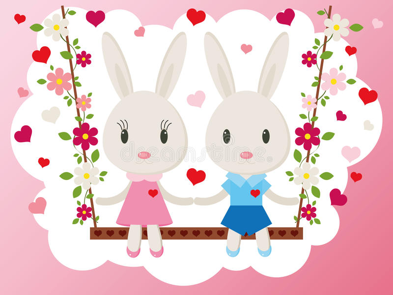 Bunnies on a swing vector card royalty free illustration