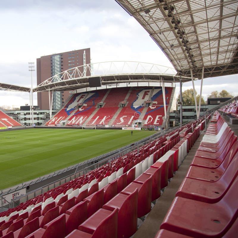 Bunnik sida i stadion av fotbollklubbaFCet Utrecht i netherlaen royaltyfri fotografi