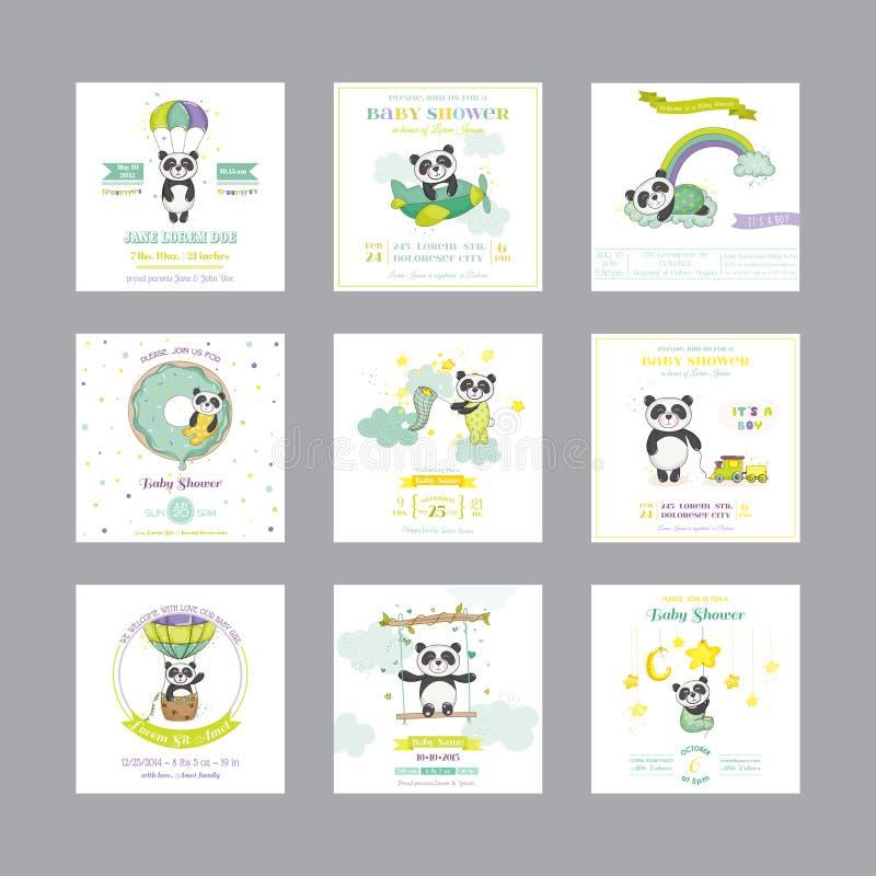 bunny ανασκόπησης μωρών χαριτωμένο floral κείμενο ντους καρτών Κάρτα μωρών άφιξης Ζώο της Panda μωρών διανυσματική απεικόνιση