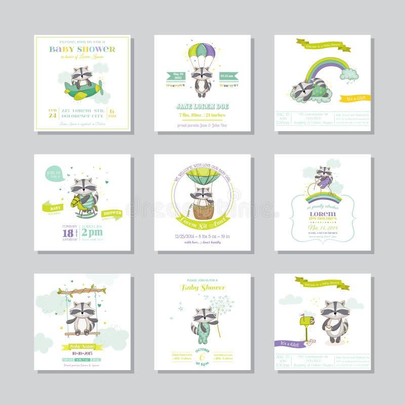 bunny ανασκόπησης μωρών χαριτωμένο floral κείμενο ντους καρτών Κάρτα μωρών άφιξης Αγόρι ρακούν μωρών πολικό καθορισμένο διάνυσμα  απεικόνιση αποθεμάτων