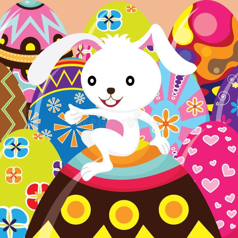 bunny αυγά Πάσχας που χρωματίζονται διανυσματική απεικόνιση