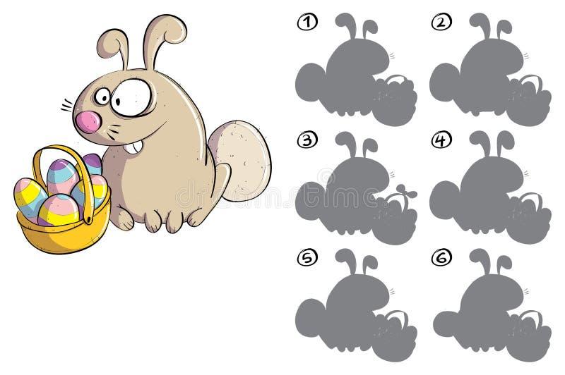 Bunny Πάσχας με τα αυγά αντανακλά το οπτικό παιχνίδι εικόνας διανυσματική απεικόνιση