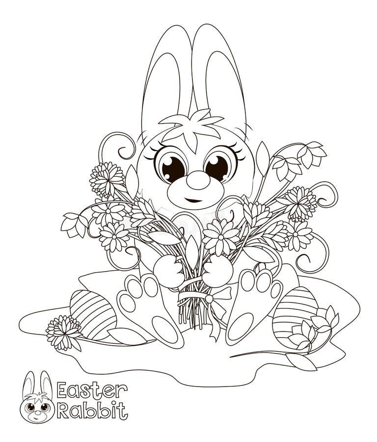 bunny Πάσχα λίγα γραφική απεικόνιση χρωματισμού βιβλίων ζωηρόχρωμη ελεύθερη απεικόνιση δικαιώματος