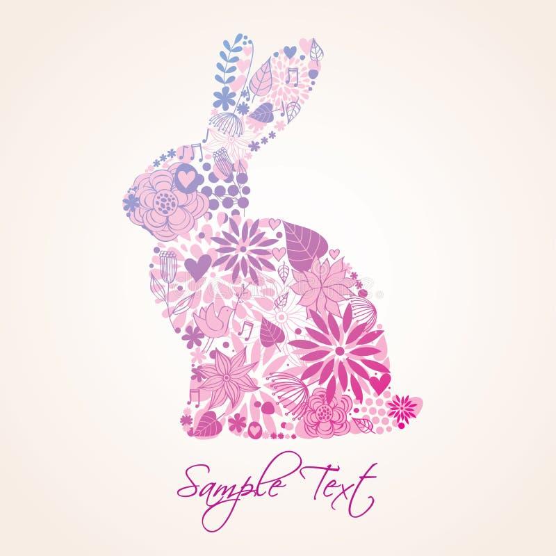bunny Πάσχα floral ελεύθερη απεικόνιση δικαιώματος