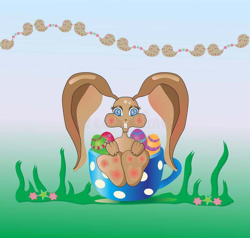 Bunny φλυτζάνι Πάσχα Στοκ Εικόνα