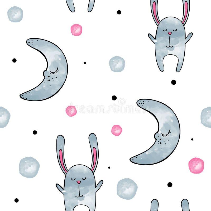 bunny χαριτωμένο Διανυσματικό άνευ ραφής σχέδιο Watercolor απεικόνιση αποθεμάτων