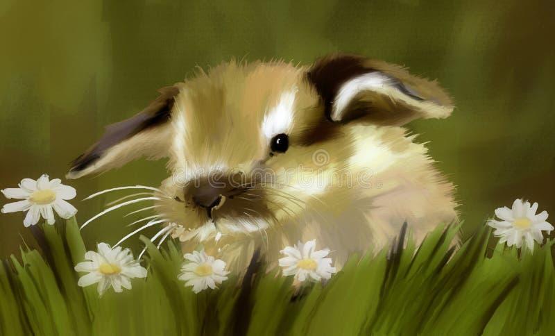 bunny χλόη διανυσματική απεικόνιση