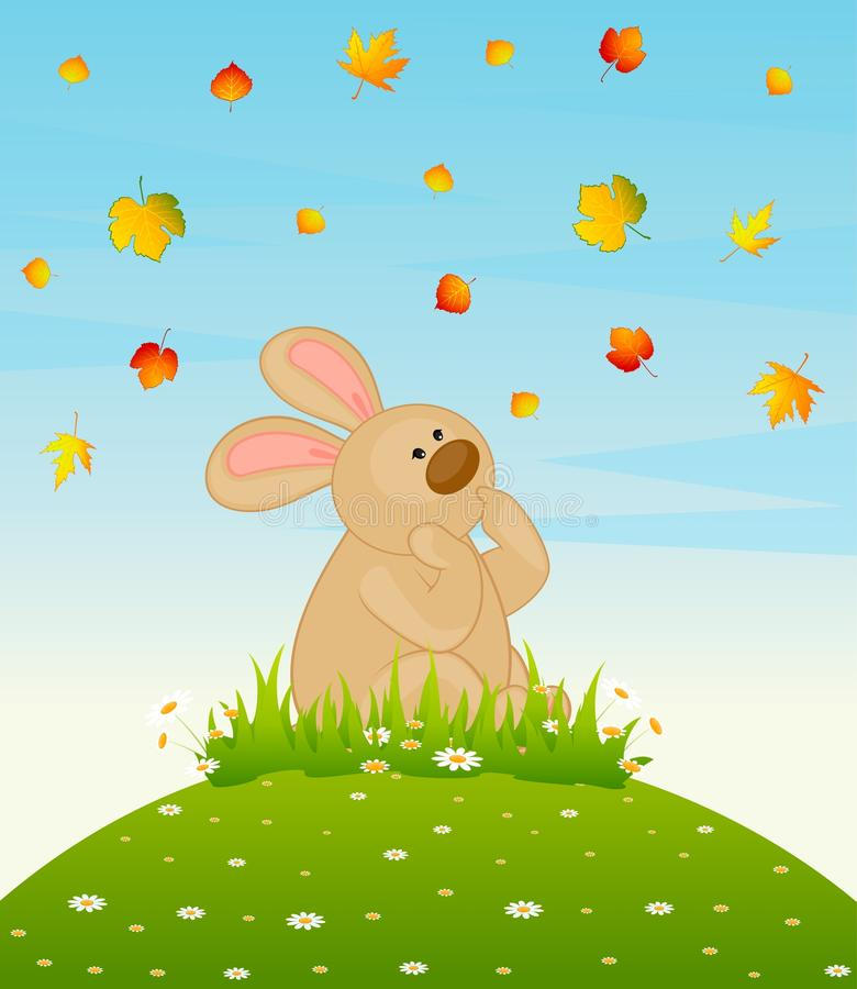 bunny with autumnal leaves