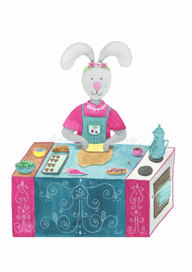 Bunny-baker cooking biscuits in shape of heart royalty free illustration