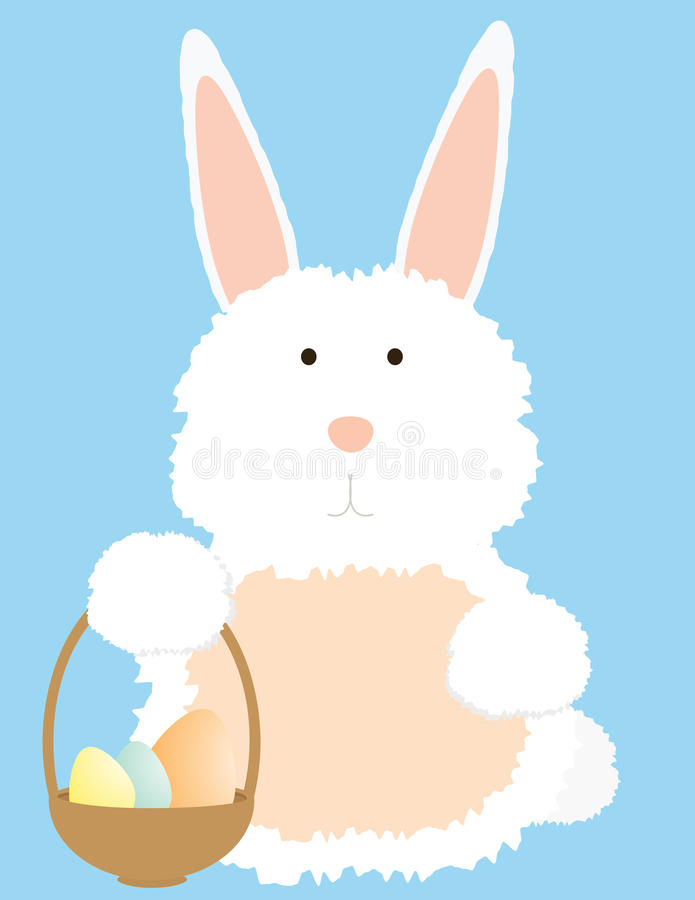 Bunny with basket stock illustration