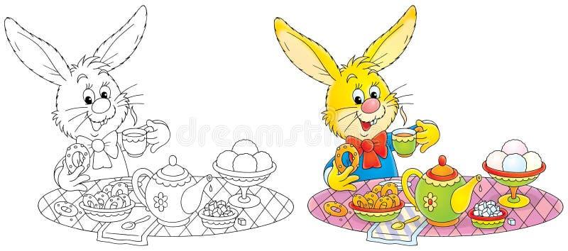 Bunny at breakfast vector illustration