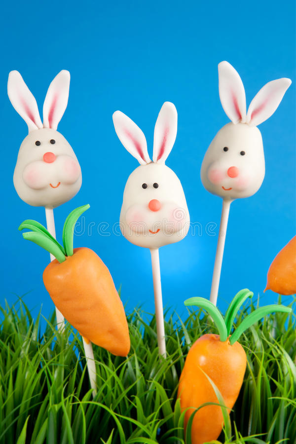 Bunny cake pops stock images