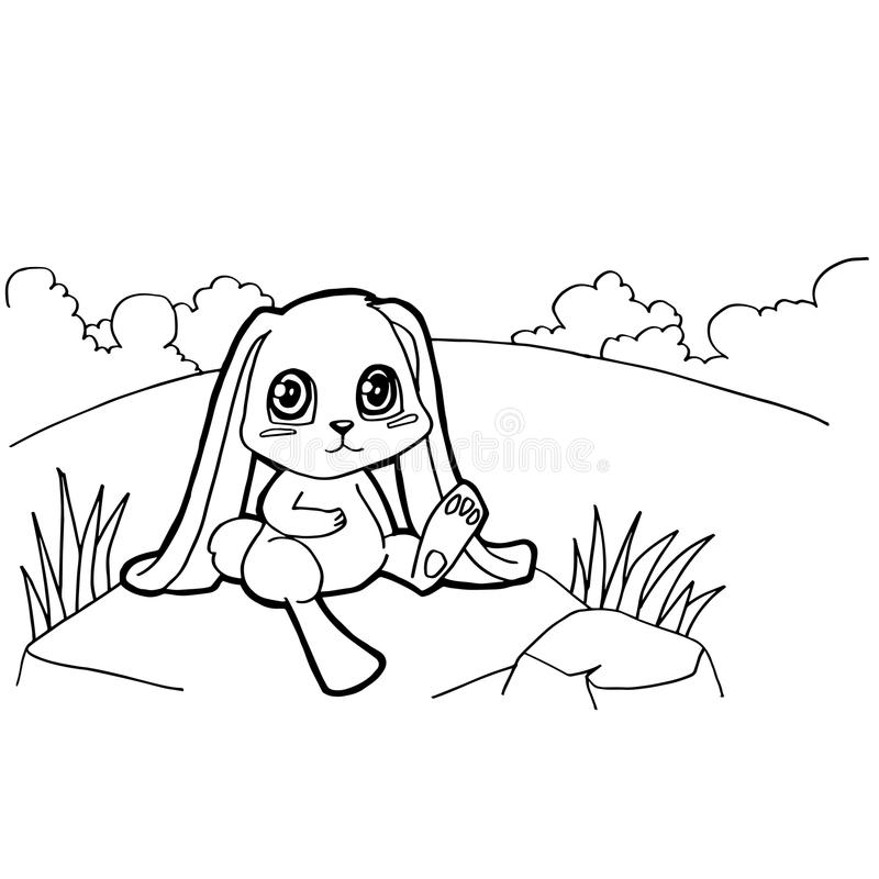Bunny cartoon coloring pages vector. Image of bunny cartoon coloring pages on whiten stock illustration
