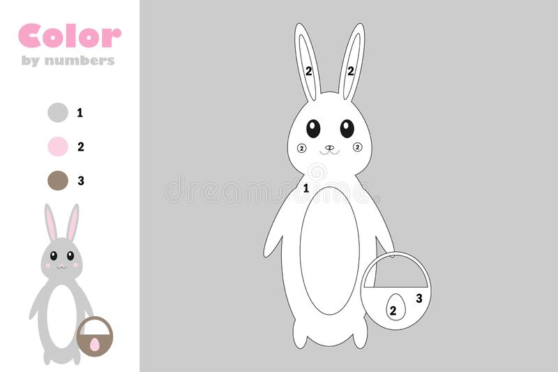 Bunny in cartoon style, color by number, easter education paper game for the development of children, coloring page, kids stock illustration