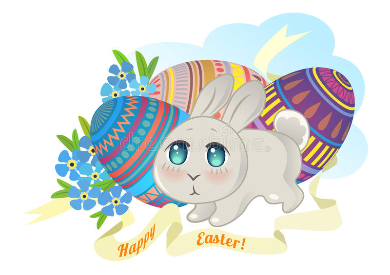 Bunny Chibi On The Background Of Easter Eggs Stock Vector