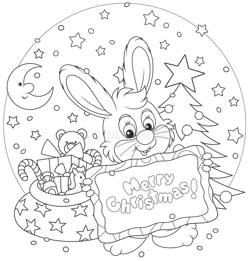 Bunny with christmas card stock vector image of holiday for Small and friendly holidays