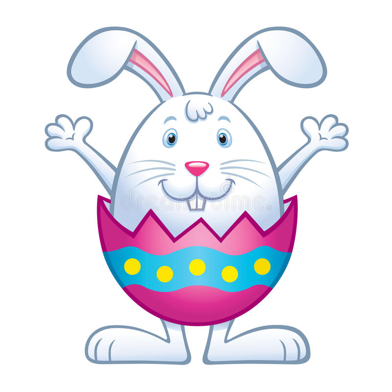 Bunny In Cracked easter Egg Shell. Cartoon of a cute bunny inside a cracked colored Easter egg with its arms up and smiling stock illustration