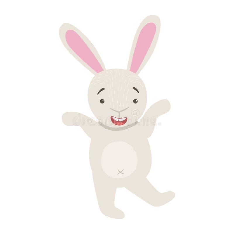 Bunny Cute Toy Animal With detalhou a peça dos elementos da coleção da fauna de etiquetas criançolas do vetor ilustração royalty free