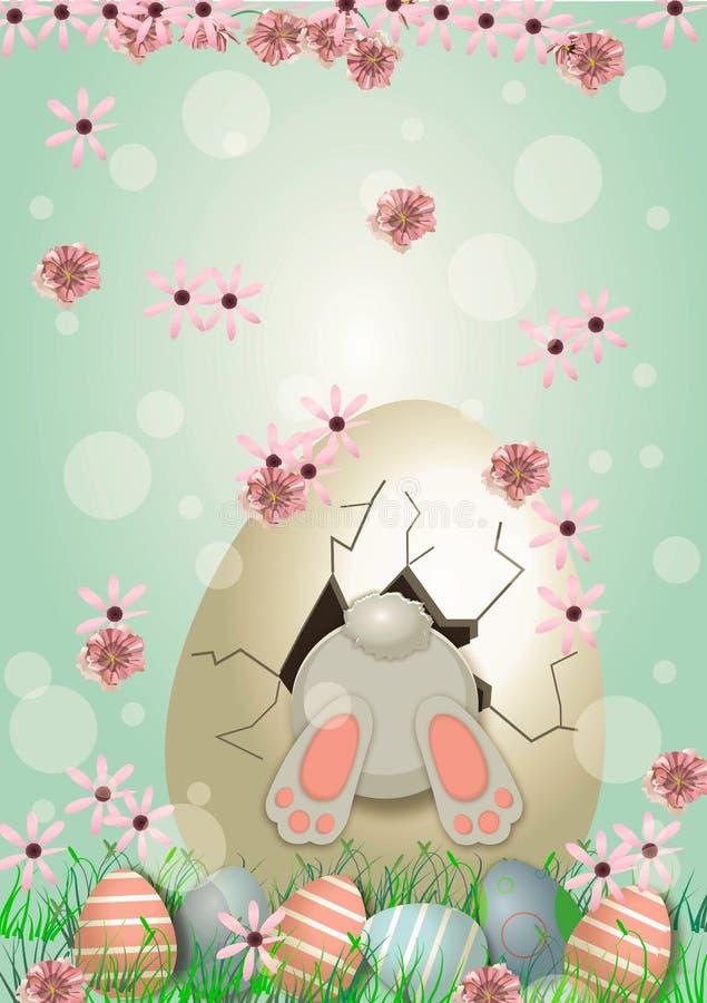 Bunny With Decorated Eggs De lente en de achtergrond van Pasen royalty-vrije illustratie