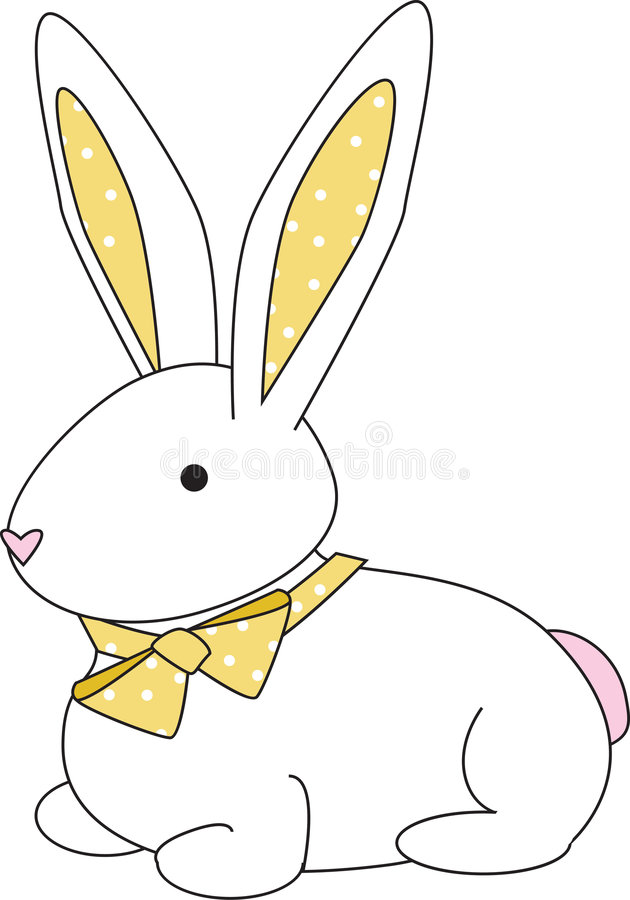 Bunny dot yellow. Cuddly bunny with a yellow polka-dotted bow vector illustration