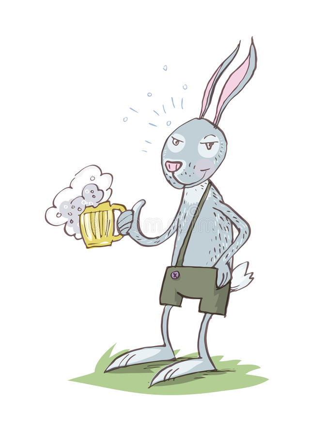 Bunny Drinking Beer illustration stock