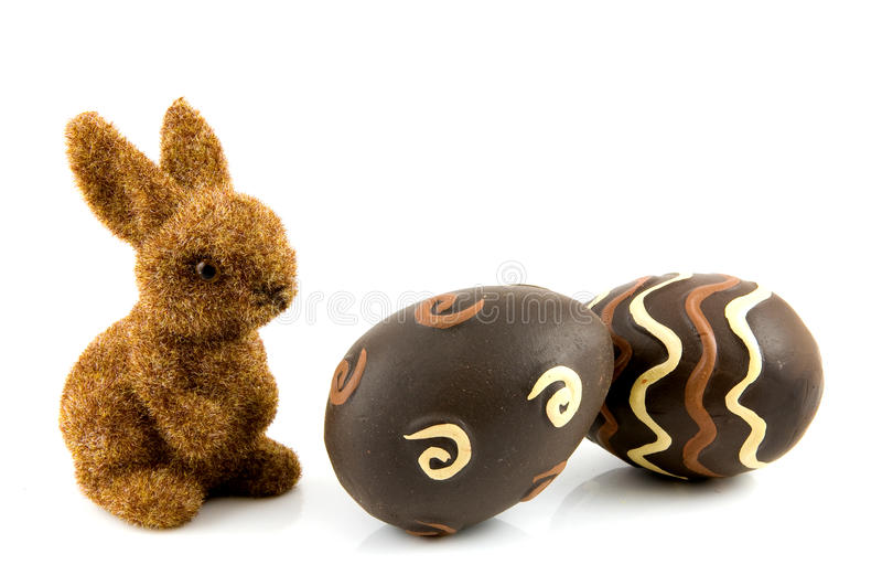 Bunny with easter eggs. Isolated on white background royalty free stock photos