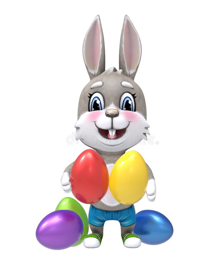 Bunny with Easter eggs isolated on white. vector illustration